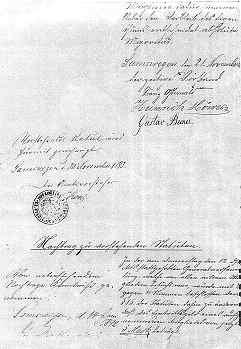 Gründungsdokument vom 30. November 1883